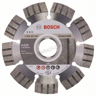 Diamantový dělicí kotouč Best for Concrete -  115 x 22,23 x 2,2 x 12 mm